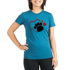 Dog Paw Print with Love Hear Organic Women's Fitted T-Shirt (dark)