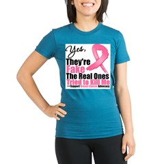 Yes They're Fake Breast Cancer Organic Women's Fitted T-Shirt (dark)