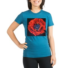 Red Poppy on Black Organic Women's Fitted T-Shirt (dark)