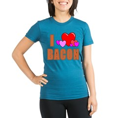 I Love Bacon Organic Women's Fitted T-Shirt (dark)