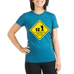 Mother Flippin' Yield Sign Organic Women's Fitted T-Shirt (dark)