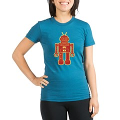 Robot Organic Women's Fitted T-Shirt (dark)