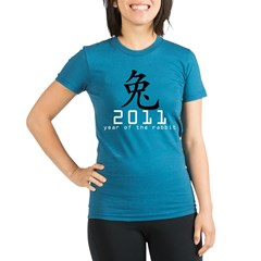2011 Chinese New Year of The Rabbi Organic Women's Fitted T-Shirt (dark)