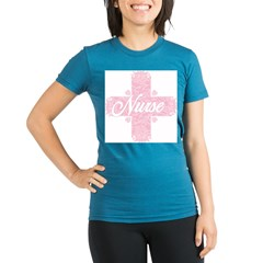 Nurse Pink Lacy Cross Organic Women's Fitted T-Shirt (dark)