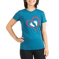 baby feet heart Organic Women's Fitted T-Shirt (dark)
