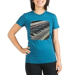 Distressed Vintage Piano Organic Women's Fitted T-Shirt (dark)