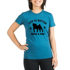 Pug breed Design Organic Women's Fitted T-Shirt (dark)