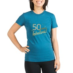 50 and Fabulous Gold and Glitter Organic Women's Fitted T-Shirt (dark)