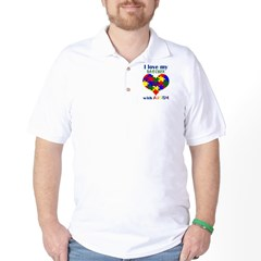 I love my BROTHER with Autism Golf Shirt