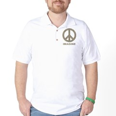 VintageImaginePeace1Bk Golf Shirt
