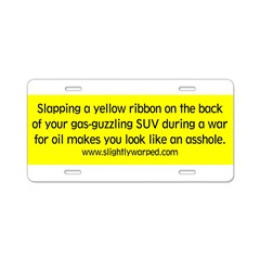 Yellow Ribbon Aluminum License Plate