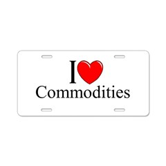 """I Love (Heart) Commodities"" Aluminum License Plate"
