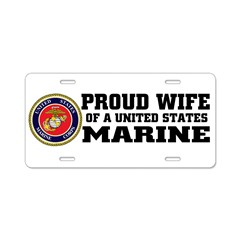 Marine Proud Wife Aluminum License Plate