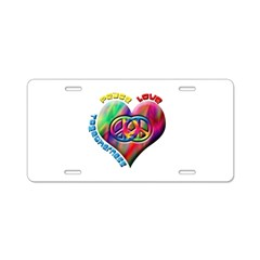 Peace Love Togetherness Aluminum License Plate