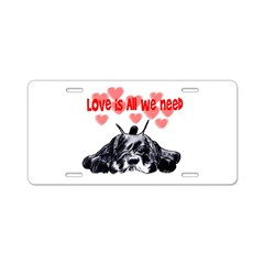 schnauzer love Aluminum License Plate