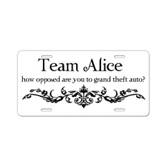 Team Alice Theft Aluminum License Plate