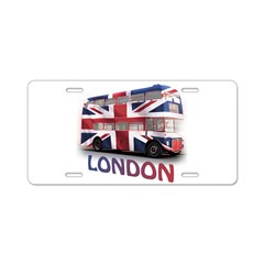 London Bus with Union Jack an Aluminum License Plate