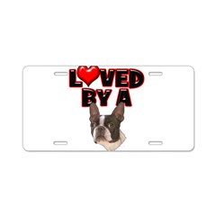 Loved by a Boston Terrier Aluminum License Plate