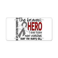 Bravest Hero I Knew Brain Cancer Aluminum License Plate