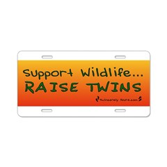 Support Wildlife - Raise Twin Aluminum License Plate
