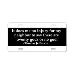Jefferson religious tolerence Aluminum License Plate