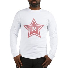 Red-Star-Faded-Blk Long Sleeve T-Shirt