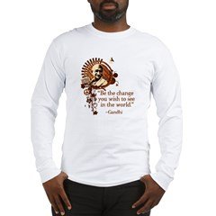 Funky Gandhi-Be the change... Long Sleeve T-Shirt