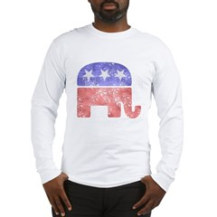 2-RepublicanLogoTexturedGreyBackgroundFadedTs Long Sleeve T-Shirt