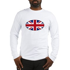 UK (Union Jack) Flag in Oval Long Sleeve T-Shirt