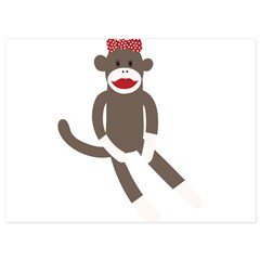 Polka Dot Sock Monkey 5.5 x 7.5 Flat Cards