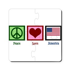 Peace Love America Puzzle Coasters (set of 4)