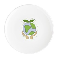 earthfriendhands.png Round Cocktail Plate