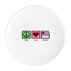Peace Love America Round Cocktail Plate