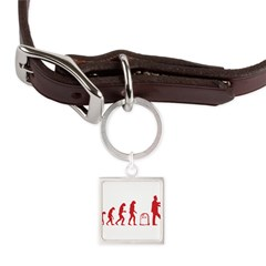 Evolution zombie Large Square Pet Tag