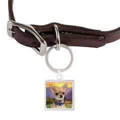 Chihuahua Meadow Large Square Pet Tag