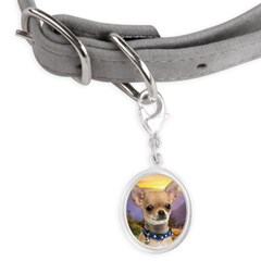 Chihuahua Meadow Small Oval Pet Tag