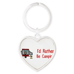 I'd Rather Be Camping Heart Keychain