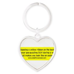 Yellow Ribbon Heart Keychain