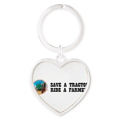 Save a Tractor, Ride a Farmer Heart Keychain