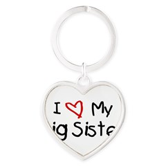 I Love My Big Sister Heart Keychain