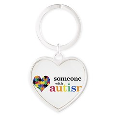 I HEART Someone with Autism - Heart Keychain
