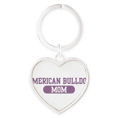 American Bulldog Mom Heart Keychain