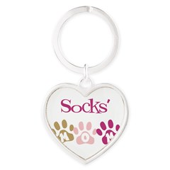 Socks's Mom Heart Keychain