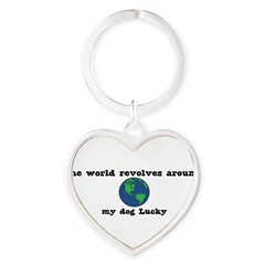 World Revolves Around Lucky Heart Keychain