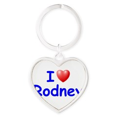 I Love Rodney (Blue) Heart Keychain