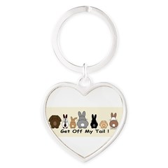 Get Off My Tail Heart Keychain