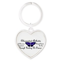 Butterfly Awareness 1 (Rheumatoid Arthritis) Heart Keychain