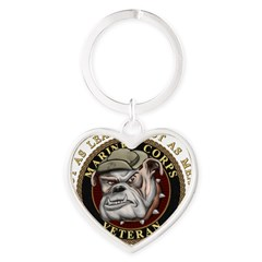 Devil Dog Vet Heart Keychain