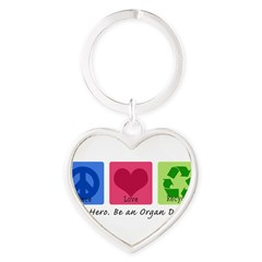 Peace Love Recycle Heart Keychain