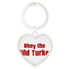 Obey the Wild Turkey Heart Keychain